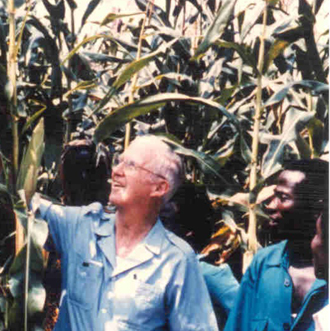 Norman Borlaug reviews the corn crop